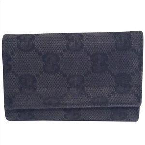 Gucci black monogram 6 key ring wallet case